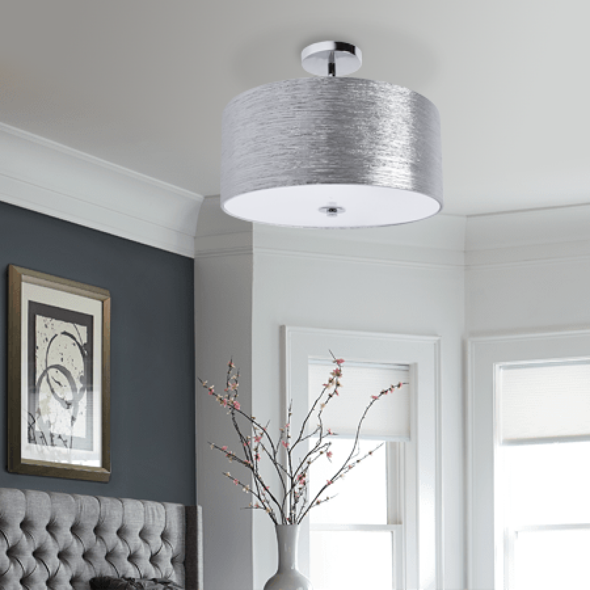 Providence semi flush mount silver minimalist ceiling drum light more views mozeypictures Choice Image
